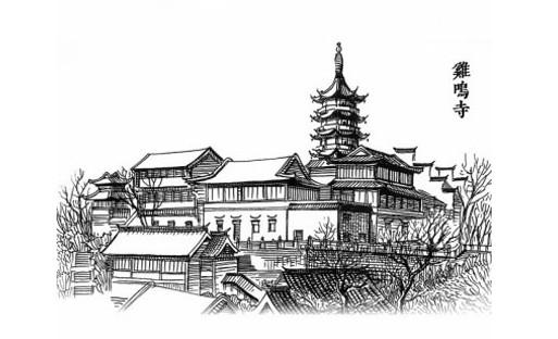 黑白简约手绘建筑